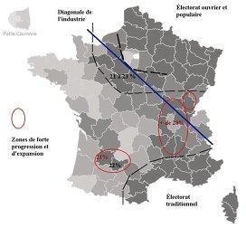 Répartition géographique de l'électorat de Marine le Pen au 1er tour